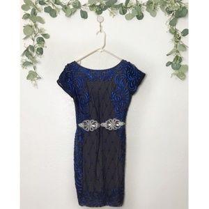 NWT Holt Blue & Black Sparkle Mesh Bodycon Dress